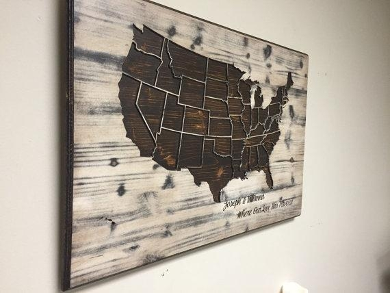 Wood Us Map Wall Art Carved United States Map Us Map With Wood Map With Wood Map Wall Art (Photo 3 of 20)