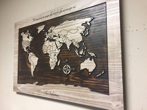Wood Wall Art World Map Wall Art Carved Wooden World Map In Wood Map Wall Art (Image 18 of 20)
