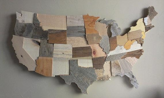 Wooden Usa Map Wall Art Delightful Ideas United States Wall Art Intended For State Map Wall Art (Image 17 of 20)
