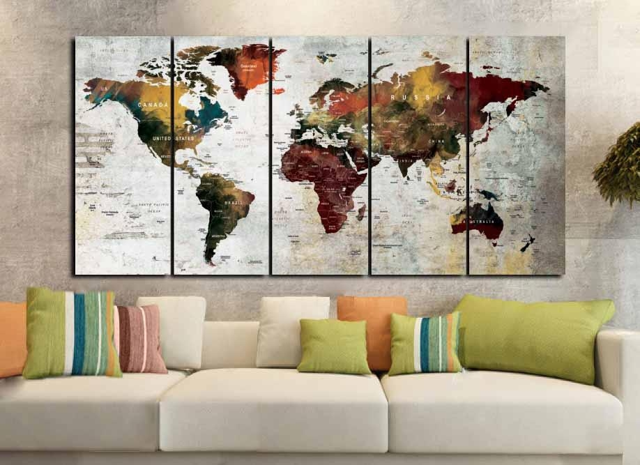 World Map Art,world Map Canvas,large World Map,world Map Wall Art Pertaining To Abstract Map Wall Art (View 10 of 20)