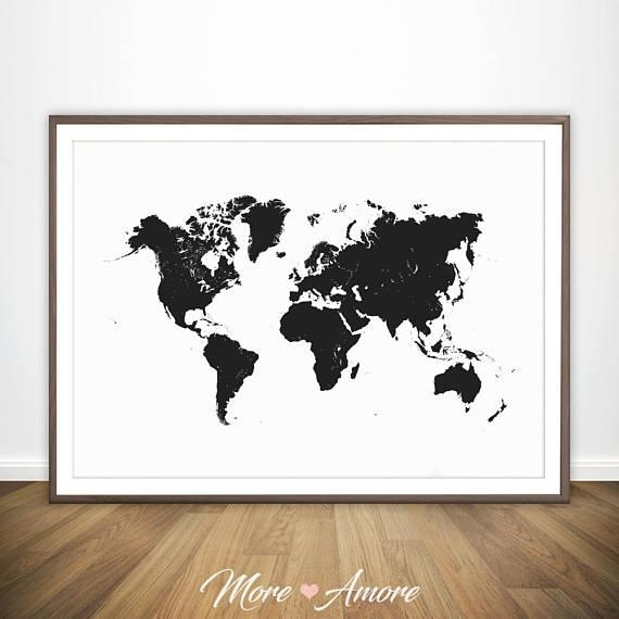 World Map Black And White Print Large World Map Wall Art In Map Wall Art Prints (Image 16 of 20)