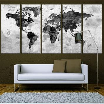 World Map Canvas Art Print, Old World Map From Artcanvasshop On Pertaining To Map Wall Art Prints (Image 17 of 20)