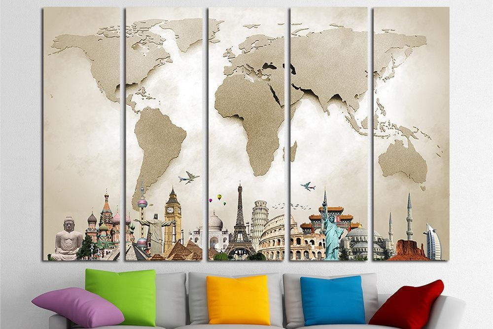 World Map Canvas Print Wall Art Multi Panel World Map Wall Pertaining To Canvas Map Wall Art (Image 20 of 20)