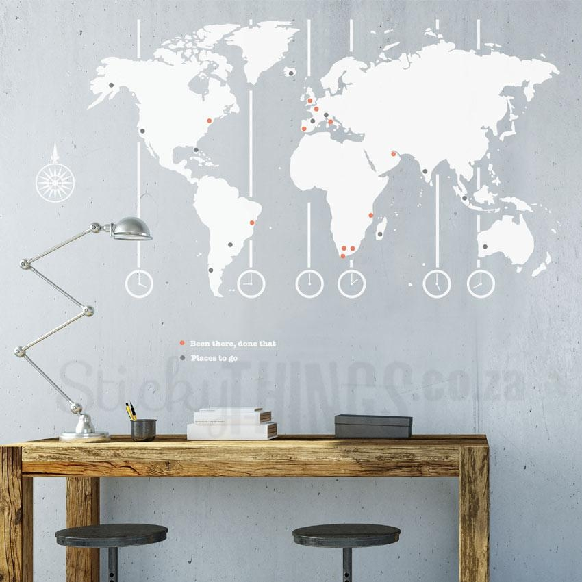 World Map Decal – World Map Wall Art – Stickythings.co (Image 18 of 20)