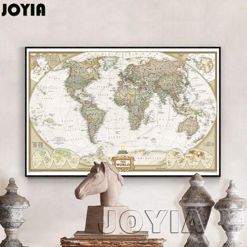 World Map Painting Canvas Prints Large Wall Art Europe Vintage Intended For Europe Map Wall Art (Image 18 of 20)