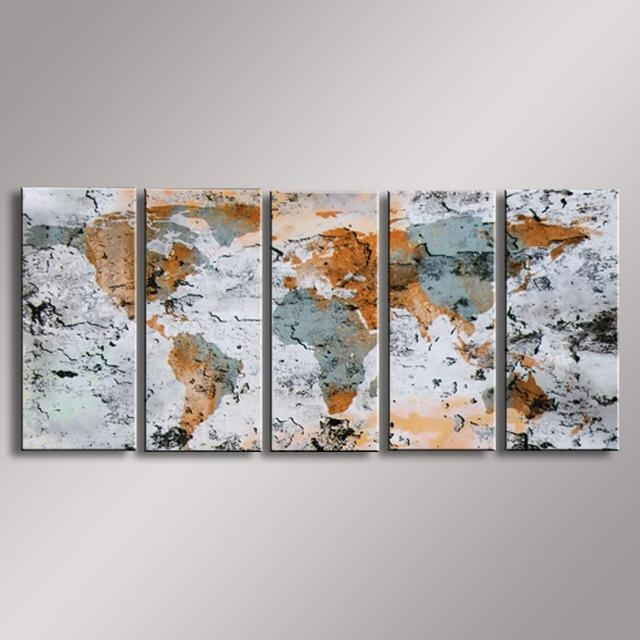 World Map Painting Oil Painting 100% Hand Painted Modern Wall Art Within Abstract Map Wall Art (View 20 of 20)