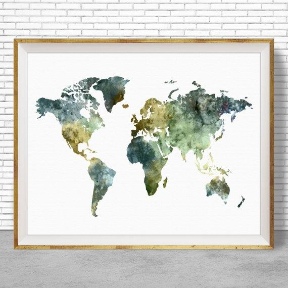 World Map Poster World Map Wall Art Print World Map Print Throughout World Map Wall Art Print (Image 16 of 20)