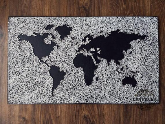 World Map String Art Large World Map Travel Map Wood With Regard To String Map Wall Art (Image 16 of 20)