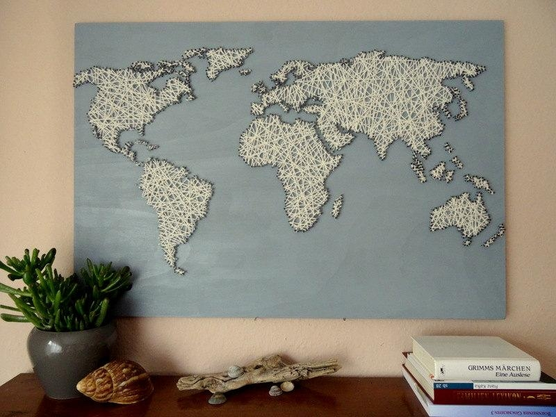 World Map String Art Office Decor Travel Gift World With Regard To String Map Wall Art (Image 17 of 20)