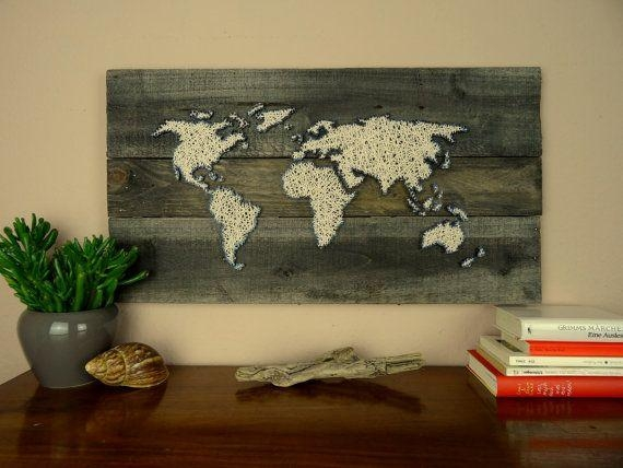World Map Strung On Wood With Wool | 21.7 X  (Image 18 of 20)