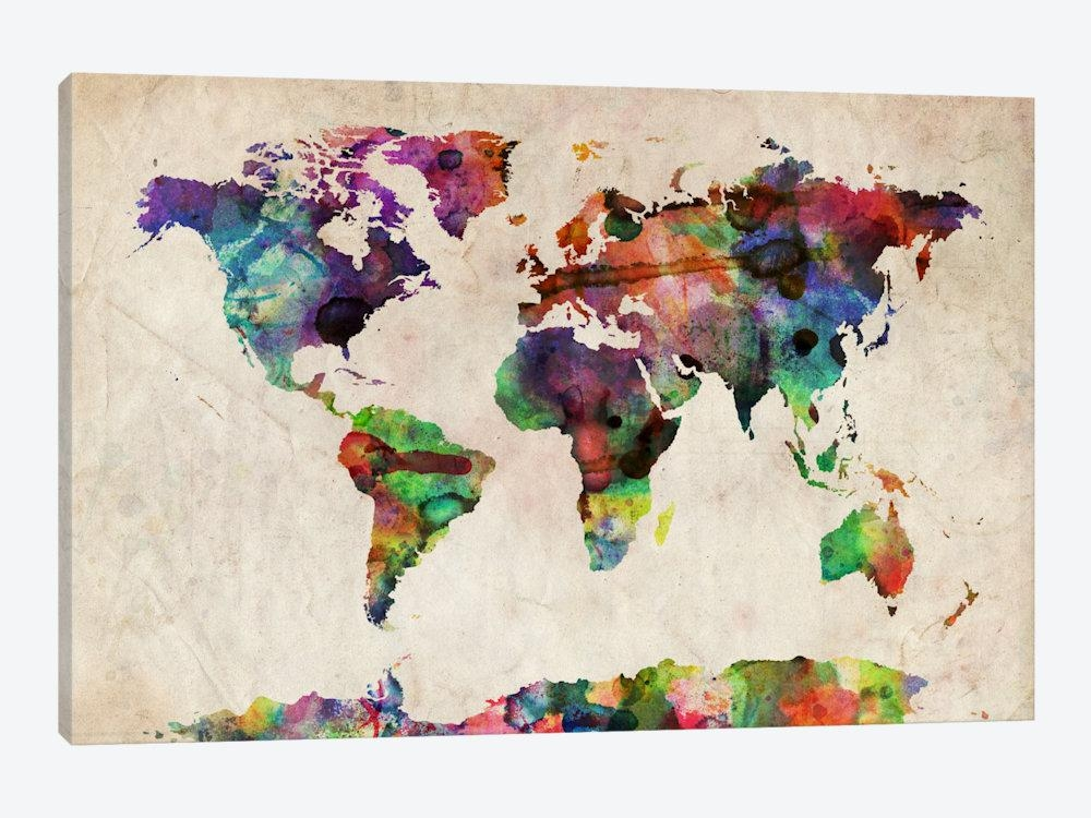 World Map Urba Watercolor Ii Art Printmichael Tompsett | Icanvas Within World Map Wall Art Print (View 6 of 20)