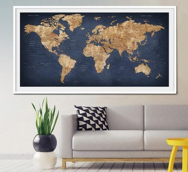 World Map Wall Art Best 25 Map Wall Art Ideas On Pinterest Map Pertaining To Large World Map Wall Art (Image 17 of 20)