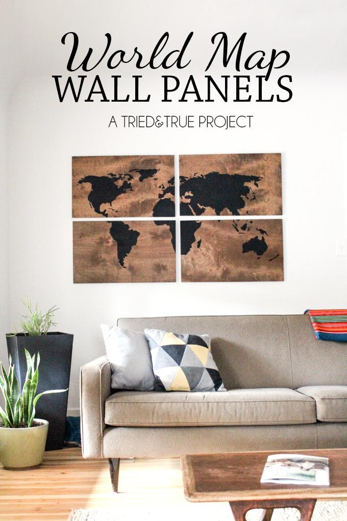 World Map Wall Art Diy – Tried & True Pertaining To Large Map Wall Art (Image 19 of 20)