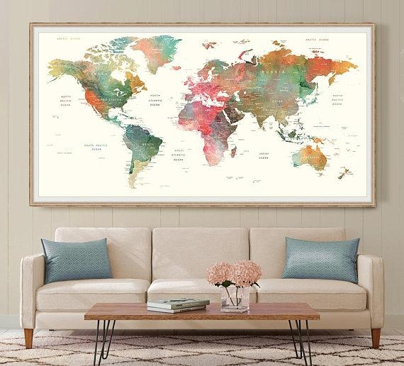 World Map Wall Art Large Watercolor Push Pin World Map Poster Throughout World Map Wall Art (View 11 of 20)