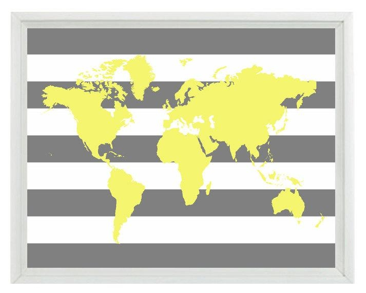 World Map Wall Art Print Yellow Gray Stripe Decor Nursery In World Map Wall Art Print (Image 18 of 20)