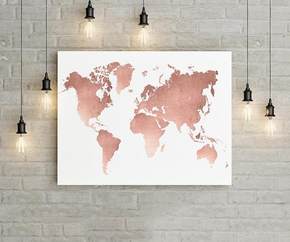 World Map Wall Art Rose Gold Print World Map Poster Rose In World Map Wall Art Print (Image 19 of 20)