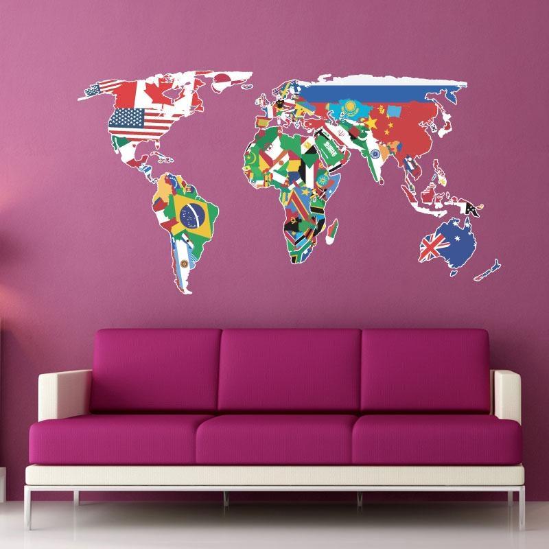 World Map Wall Art Stickers : Family World Map Wall Decal Art In World Map Wall Art Stickers (View 6 of 20)