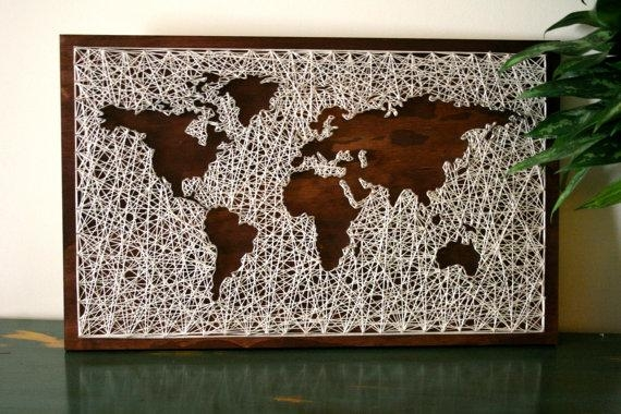 World Map Wall Art String Art Map World Map Art Map Wood With String Map Wall Art (Image 20 of 20)