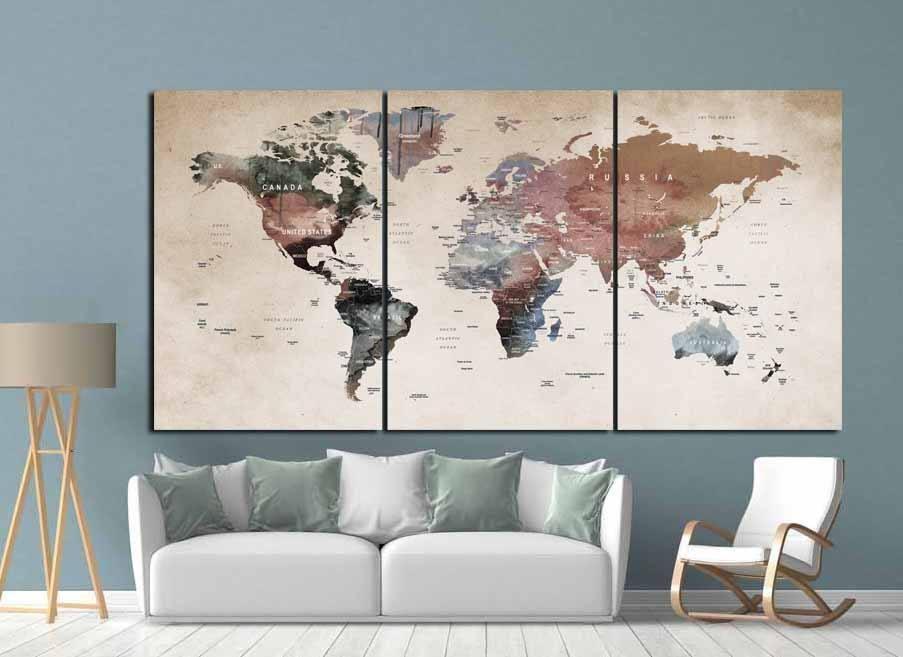 World Map Wall Art,world Map Canvas,world Map Print,large World For Worldmap Wall Art (Image 20 of 20)