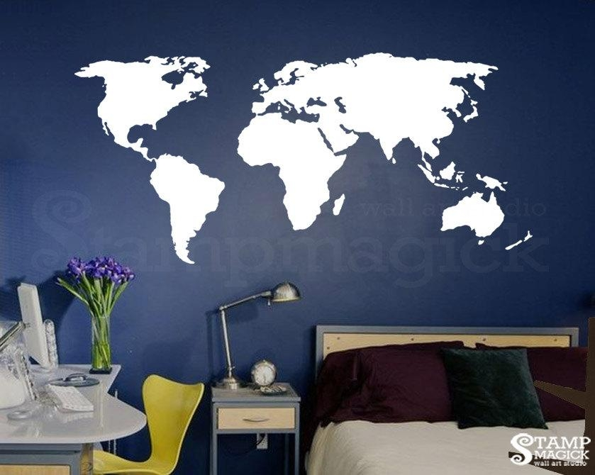 World Map Wall Decal For Home Or Office Chalkboard White With World Map Wall Art Stickers (Image 17 of 20)