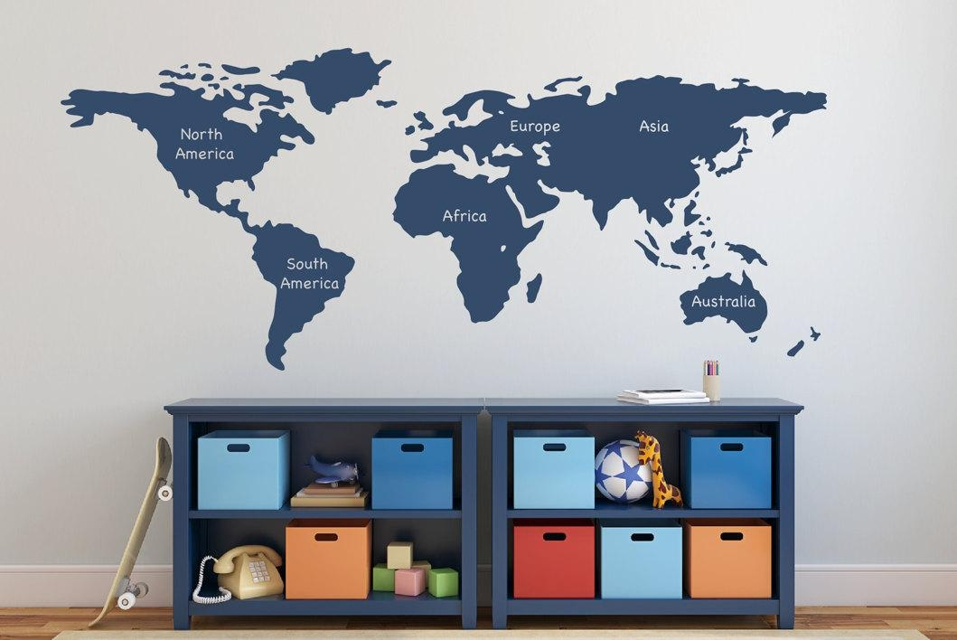 World Map Wall Decal With Continents Vinyl Wall Sticker Decals Pertaining To World Map Wall Art Stickers (View 7 of 20)