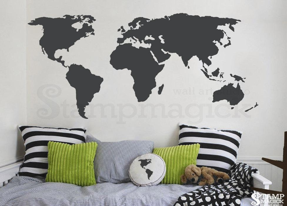 World Map Wall Decal World Map Decal Vinyl Wall Art Mural Pertaining To World Map Wall Art Stickers (Image 19 of 20)