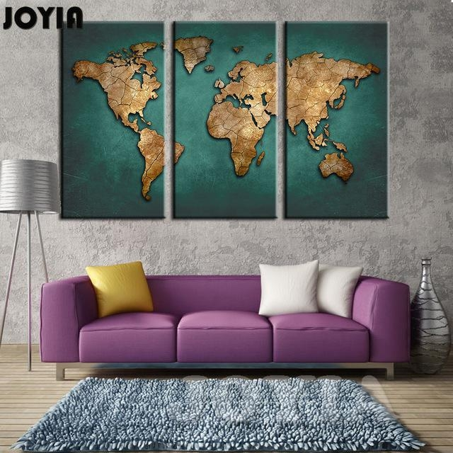 World Map Wall Painting Canvas Art Large Abstract Maps Forum Dark Pertaining To Abstract Map Wall Art (View 12 of 20)