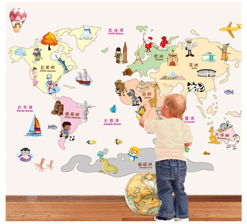 World Map Wall Sticker /wall Stickers Of World Maps Diy Decoration In World Map Wall Art For Kids (View 4 of 20)