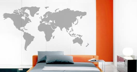 World Map Wall Stickers | Dezign With A Z Within World Map Wall Art Stickers (Image 20 of 20)