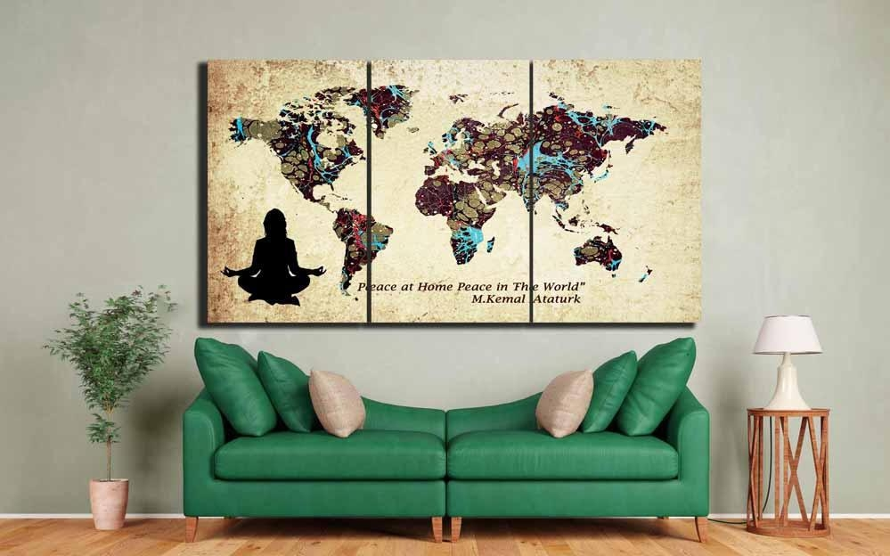 World Map,custom World Map,large World Map Wall Art ,custom Canvas With Regard To Personalized Map Wall Art (Image 18 of 20)