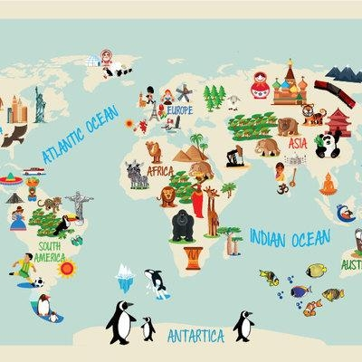 World Maps Wall Art Decals · Moonwallstickers · Online Store Throughout Kids World Map Wall Art (Image 20 of 20)