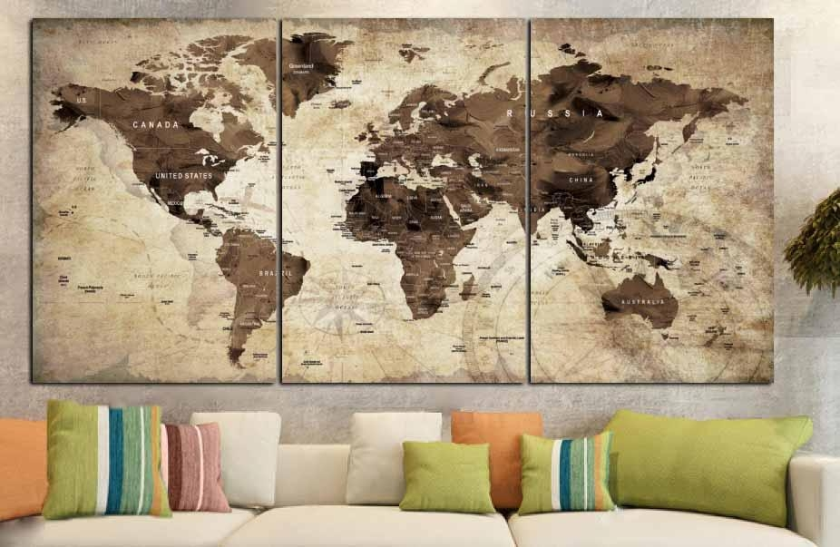 World Map,world Map Vintage,vintage Map Art,world Map Wall Art Throughout Map Wall Art Canada (View 8 of 20)