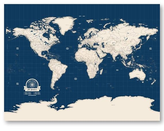 World Travel Map Personalized Map Of World Map Canvas Travel Throughout Personalized Map Wall Art (Image 19 of 20)
