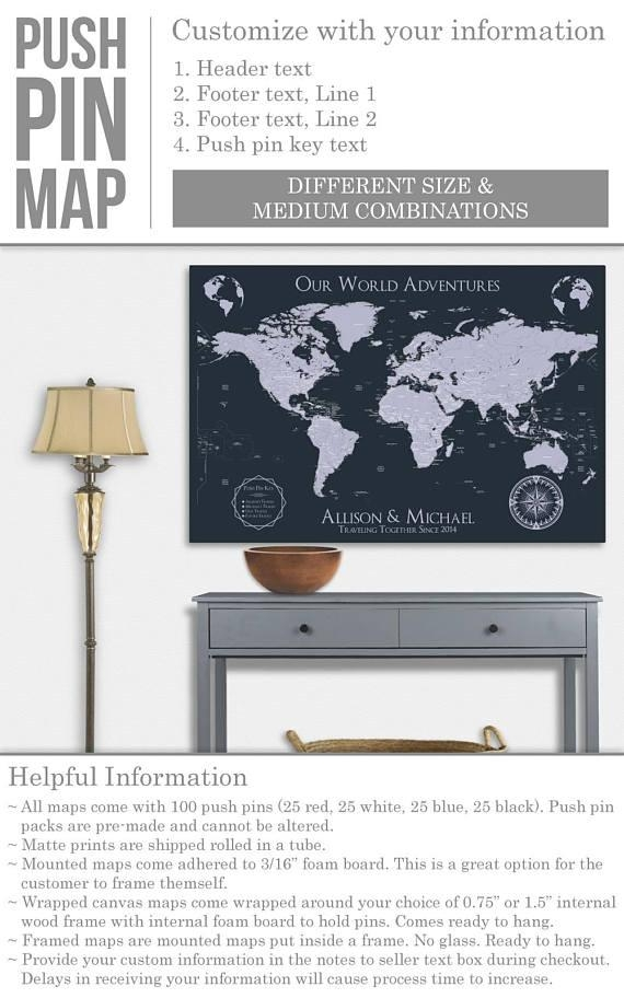 World Travel Map World Map Wall Art World Map Push Pin Map Art Pertaining To Personalized Map Wall Art (View 18 of 20)