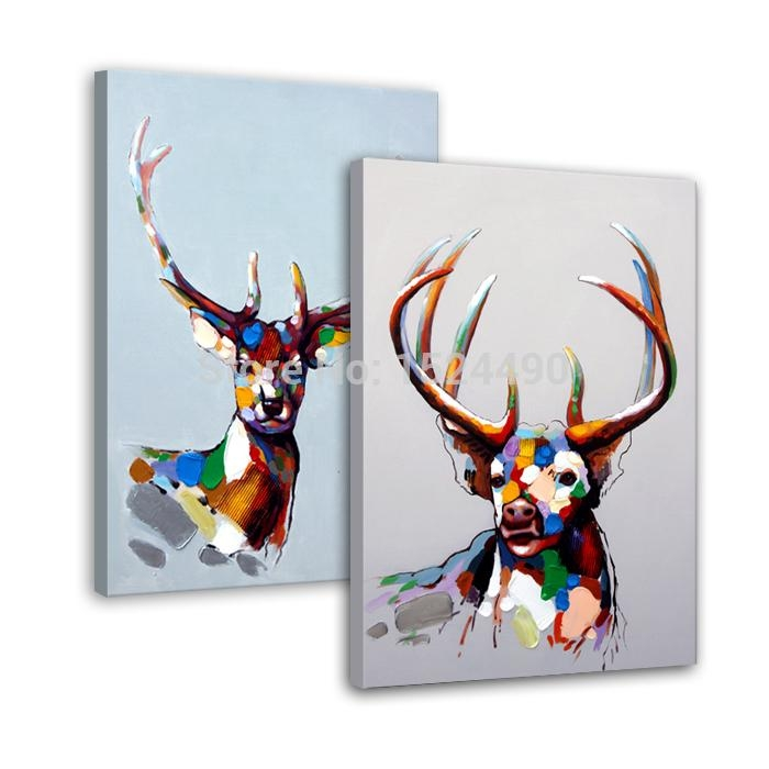 100% Hand Made Abstract Sika Deer Cartoon Animal Oil Painting On Pertaining To Abstract Deer Wall Art (Image 1 of 20)