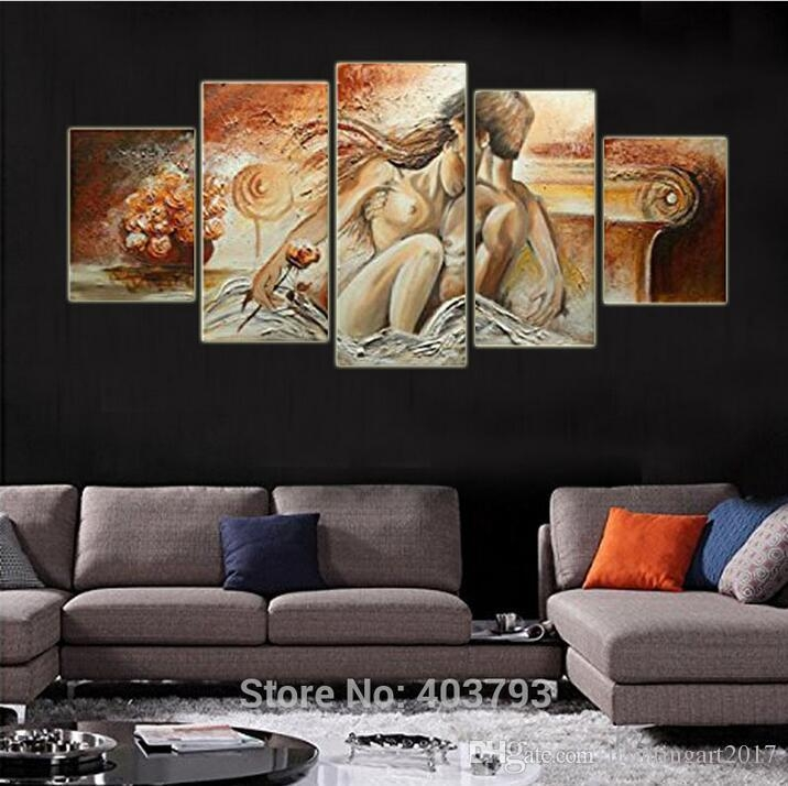 100% Hand Painted Bedroom Adornment Nude Body Wall Art Painting Inside Abstract Body Wall Art (Image 1 of 20)
