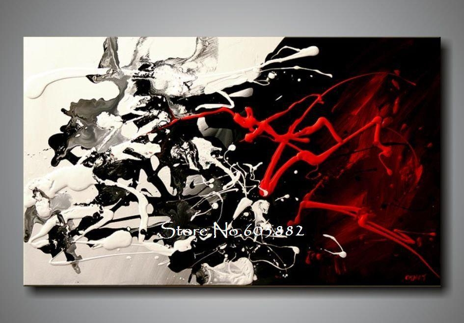 100% Hand Painted Discount Large Black White And Red Abstract Art Inside Black And White Abstract Wall Art (Image 1 of 20)