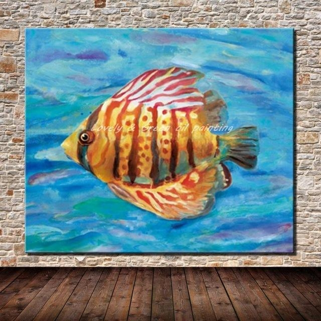 100% Hand Painted Modern Abstract Animal Fish Oil Painting On For Abstract Animal Wall Art (Image 1 of 20)