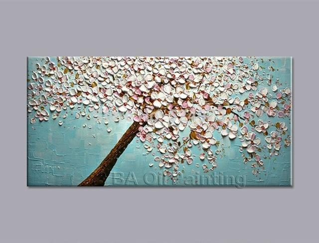 100% Hand Painted Modern Home Decor Wall Art Picture White Pink Within Cherry Blossom Oil Painting Modern Abstract Wall Art (Image 1 of 20)