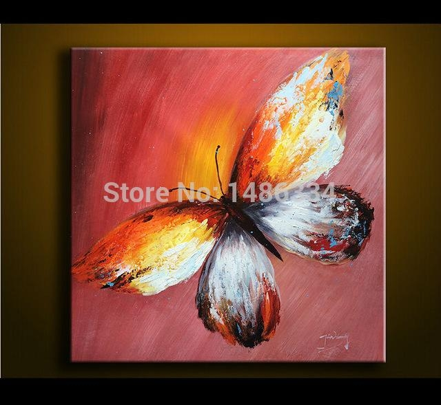 100% Hand Painted Oil Painting On Canvas Palette Knife Butterfly In Abstract Butterfly Wall Art (View 13 of 20)