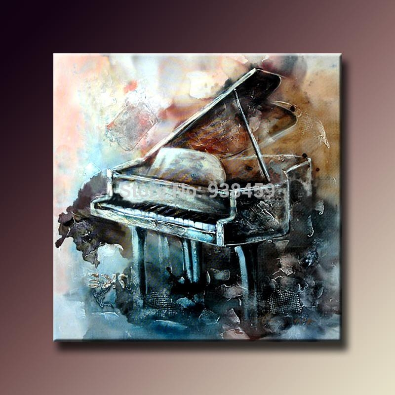 100% Hand Painted Oil Paintings On Canvas Musical Instrument Regarding Abstract Musical Notes Piano Jazz Wall Artwork (Image 1 of 20)