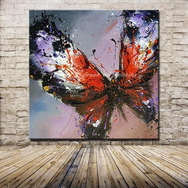 100% Handmade Modern Abstract Butterfly Oil Painting On Canvas For Abstract Butterfly Wall Art (View 4 of 20)