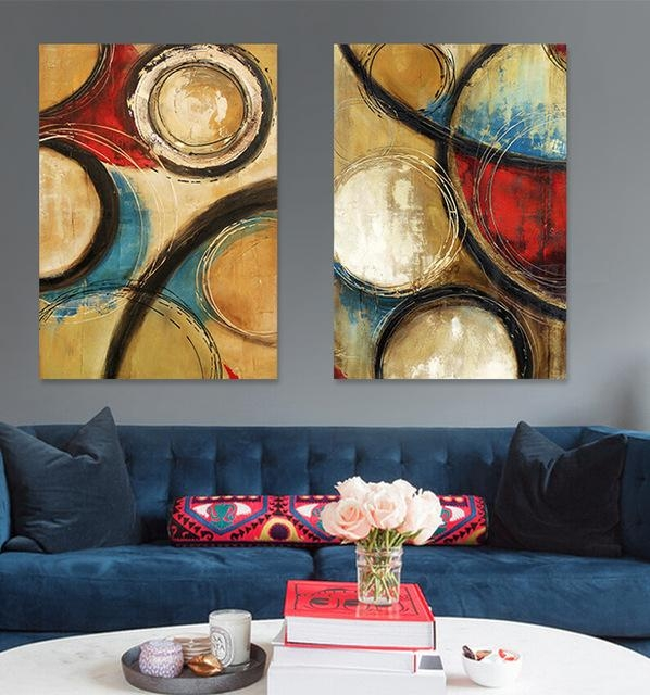 2 Panel Modern Crimson Dark Blue Circle Painted Abstract Oil Throughout Dark Blue Abstract Wall Art (Image 3 of 20)