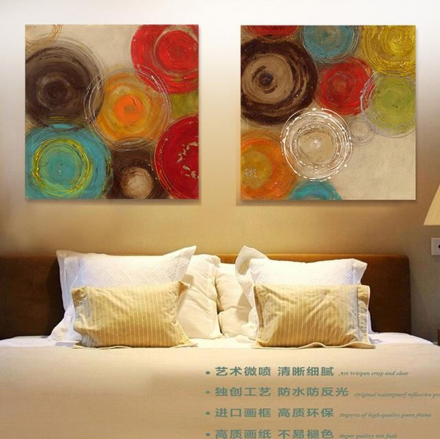 2015 Colored Circles Modern Abstract Painting Decorative Artist Regarding Abstract Circles Wall Art (Image 1 of 20)