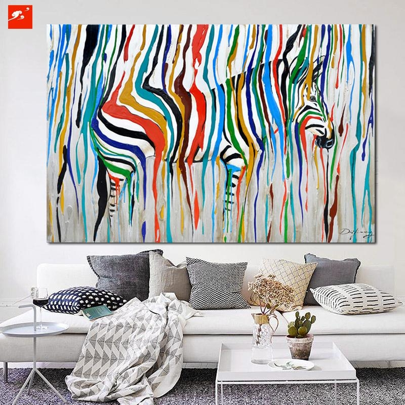 2016 Abstract Colourful Rainbow Zebra Animal Wall Art Hand Painted Throughout Big Abstract Wall Art (Image 1 of 20)
