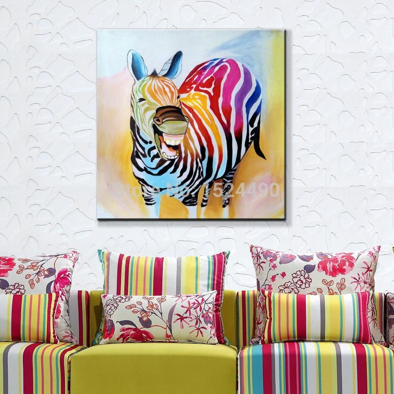 2016 Hot Sell !! Cartoon Oil Painting On Canvas Abstract Animal For Abstract Animal Wall Art (Image 5 of 20)