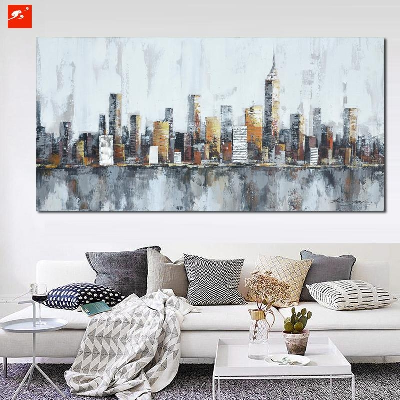 2016 New York Skyline Cityscape Architecture Abstract Wall Art Oil With Regard To Abstract Wall Art Prints (Image 1 of 20)