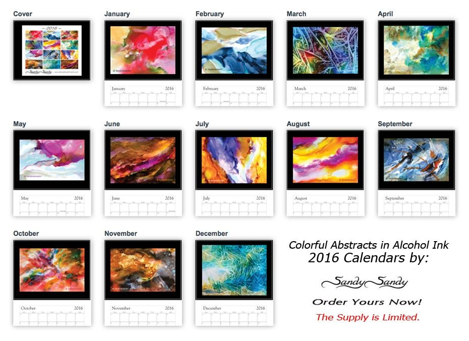 2016 Wall Calendars – Featuringpaintingsspiritartist Sandy Regarding Abstract Calendar Art Wall (Image 3 of 20)