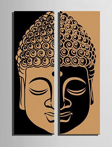 2017 New Limited Rectangle No Unframed Two Pieces Combinated For Abstract Buddha Wall Art (Photo 16 of 20)