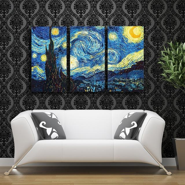 2017 Wall Painting Vincent Van Gogh 3 Pcs Starry Night Classic Pertaining To Vincent Van Gogh Wall Art (Photo 1 of 20)